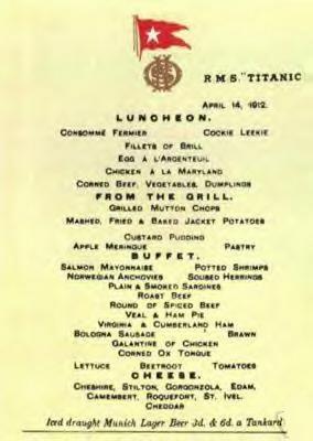 Titanic's Luncheon Menu, 1st Class