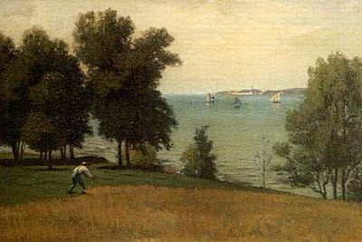 Landscape_byFrankHillSmith_man_scything_grass_on_a_hill_overlooking_a_harbor