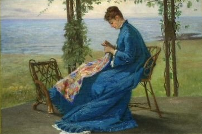 Sewing_on_the_Veranda_ca1875_byFrankHillSmith